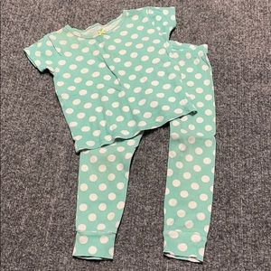 Carter's teal with white polka dots PJ set-2T